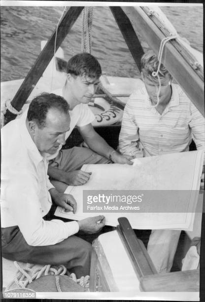 Sydney Hobart Preparation at CYC Rushcutters BayL to R Stan Gibson at Pasco Vale Melb Dave Thompson at RAN Quickmatch Sydney Malcolm Thompson of Part...