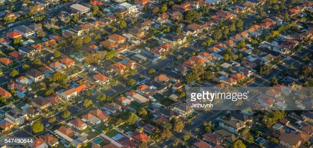 Sydney houses, view from helicopter.