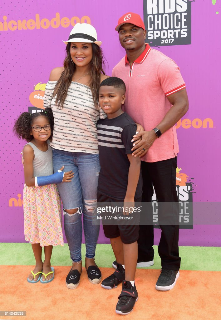 Sydney J. Conway, former professional boxer Laila Ali, Curtis Muhammad Conway Jr., and former NFL player Curtis Conway attend Nickelodeon Kids' Choice Sports Awards 2017 at Pauley Pavilion on July 13, 2017 in Los Angeles, California.
