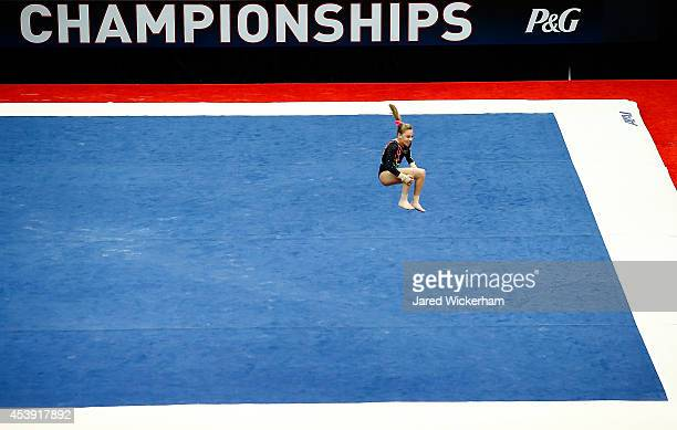 Sydney JohnsonScharpf competes on the floor routine in the junior women preliminaries during the 2014 PG Gymnastics Championships at Consol Energy...