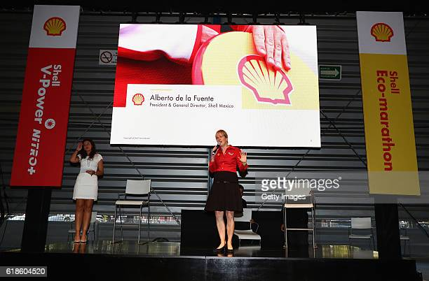 Sydney Kimball Shell Retail Americas talks on stage at the Shell Eco Marathon event during the Formula One Grand Prix of Mexico at Autodromo Hermanos...