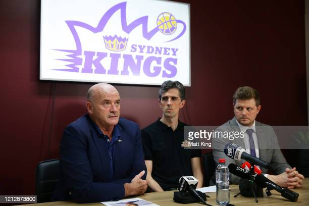 Sydney Kings chairman and owner Paul Smith head coach Will Weaver and CEO Chris Pongrass speak to the media during a Sydney Kings NBL Press...