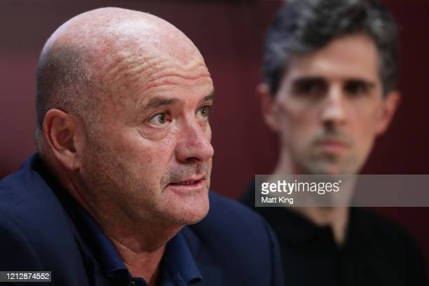 Sydney Kings chairman and owner Paul Smith speaks to the media during a Sydney Kings NBL Press Conference at Total Sport and Entertainment on March...
