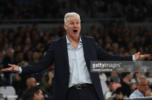 Sydney Kings coach Andrew Gaze reacts during the round seven NBL match between Melbourne United and the Sydney Kings at Hisense Arena on November 24,...