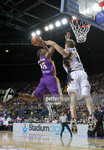 Sydney Kings' E J Rowland flying to score during a basketball match against the West Sydney Razorbacks at the Sydney Entertainment Centre 21 October...