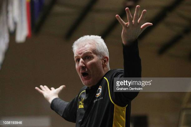 Sydney Kings Head Coach Andrew Gaze shows his emotion during the 2018 NBL Blitz match between Sydney Kings and Brisbane Bullets at Ballarat...