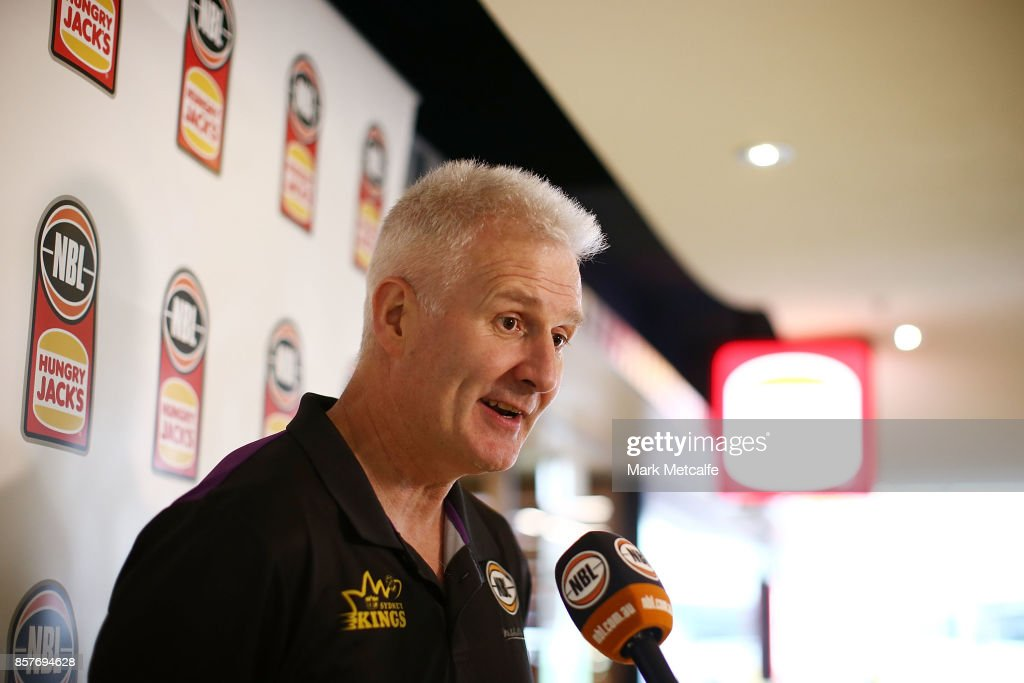 Sydney Kings head coach Andrew Gaze talks to media during the NBL Hungry Jacks sponsorship announcement at the George Street Hungry Jacks on October 5, 2017 in Sydney, Australia.