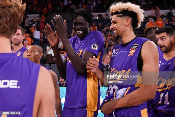 Sydney Kings players Deng Acuoth and Brian Bowen smile after their victory in the round 10 NBL match between the Cairns Taipans and the Sydney Kings...