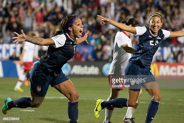 Sydney Leroux of the U.S. Women's National Team celebrates after scoring the game-winning goal against the Canadian Women's National Team on January...