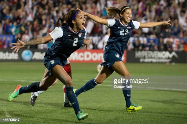 Sydney Leroux of the US Women's National Team celebrates after scoring the gamewinning goal against the Canadian Women's National Team on January 31...