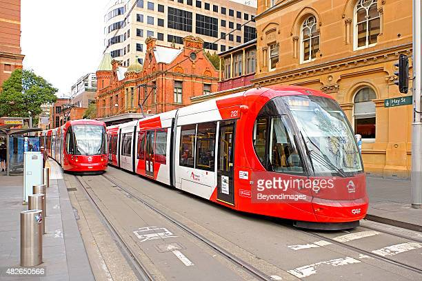 Sydney Light Rail trams at Hay Street accessible stop