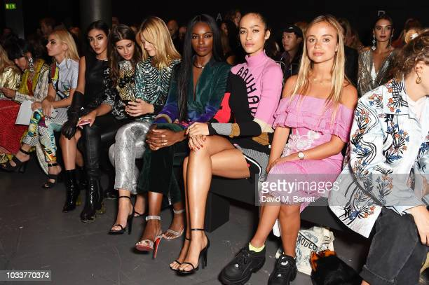 Sydney Lima guest Cairo Dwek Sydney Lima Leomie Anderson Alanna Arrington and Lady Amelia Windsor attend the Mary Katrantzou front row during London...