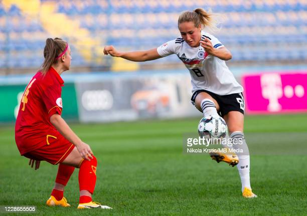 Sydney Lohmann of Germany competes against Karlicic of Montenegro during the UEFA Women's EURO 2022 Qualifier match between Montenegro and Germany at...