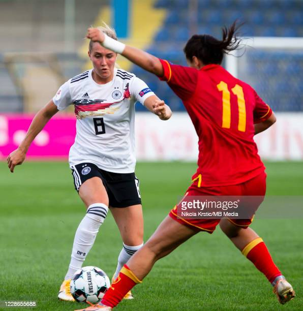 Sydney Lohmann of Germany takes on Kuc of Montenegro during the UEFA Women's EURO 2022 Qualifier match between Montenegro and Germany at Pod Goricom...