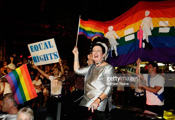 Sydney Mayor Clover Moore takes part in the parade during the annual Sydney Gay and Lesbian Mardi Gras Parade on Oxford Street on February 27 2010 in...