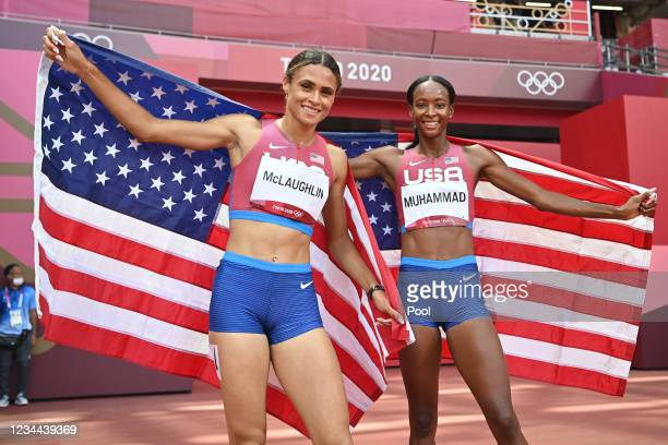 Sydney Mclaughlin and Dalilah Muhammad of the U.S. Celebrate winning gold and silver respectively in the women's 400 meter hurdles final on day...