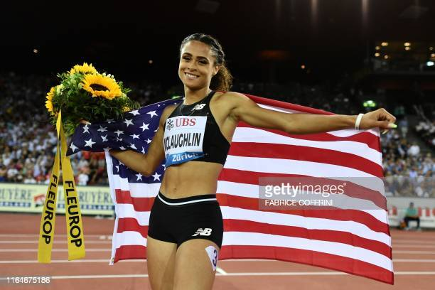 Sydney McLaughlin celebrates after winning in the Women 400m Hurdles during the IAAF Diamond League competition on August 29 in Zurich.