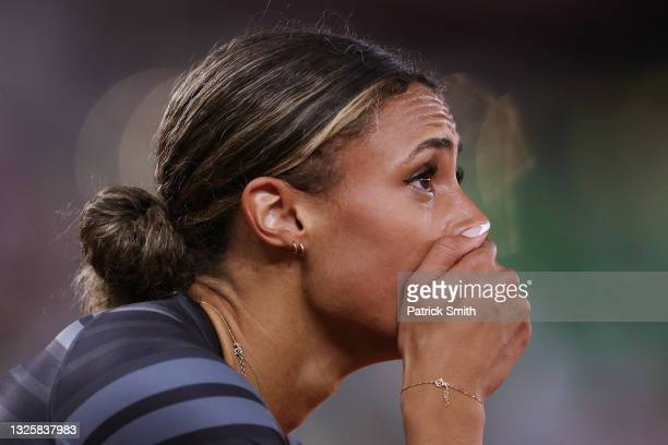 Sydney McLaughlin celebrates winning the Women's 400 Meters Hurdles Final during day ten of the 2020 U.S. Olympic Track & Field Team Trials at...
