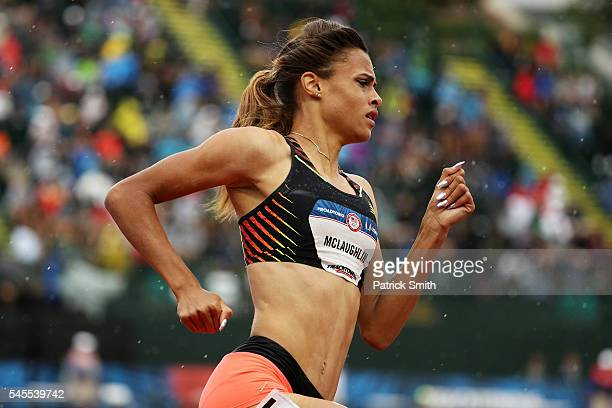 Sydney McLaughlin competes in the Women's 400 Meter Hurdles during the 2016 US Olympic Track Field Team Trials at Hayward Field on July 7 2016 in...