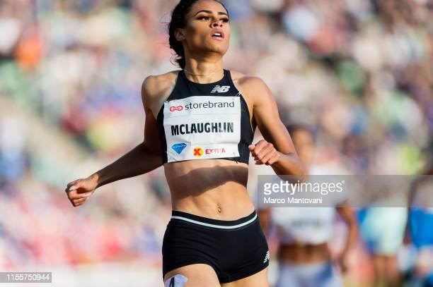 Sydney McLaughlin competes in women's 400m Hurdles at Bislett Stadium during a Diamond League event during a Diamond League event on June 13 2019 in...