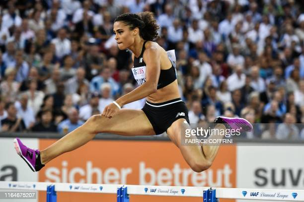 Sydney McLaughlin cross the finsh line and wins in the Women 400m Hurdles during the IAAF Diamond League competition on August 29 in Zurich.
