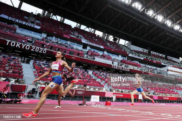 Sydney McLaughlin of Team United States competes in the Women's 400m Hurdles Final on day twelve of the Tokyo 2020 Olympic Games at Olympic Stadium...