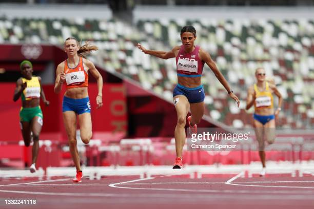 Sydney McLaughlin of Team United States wins the gold medal in the Women's 400m Hurdles Final on day twelve of the Tokyo 2020 Olympic Games at...
