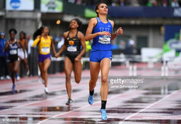 Sydney McLaughlin of the Kentucky Wildcats races to a first place finish in the 400 meter hurdles during the Division I Women's Outdoor Track Field...