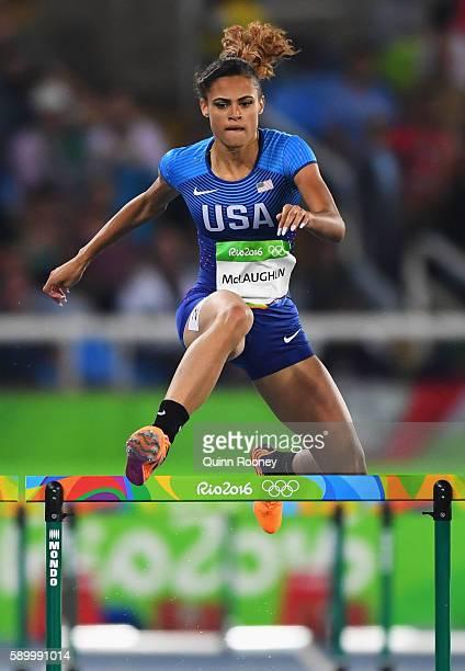 Sydney McLaughlin of the United States competes during the Women's 400m Hurdles Round 1 Heat 1 on Day 10 of the Rio 2016 Olympic Games at the Olympic...