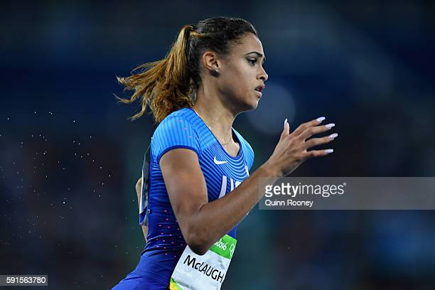 Sydney McLaughlin of the United States competes in the Women's 400m Hurdles Round 1 on Day 10 of the Rio 2016 Olympic Games at the Olympic Stadium on...