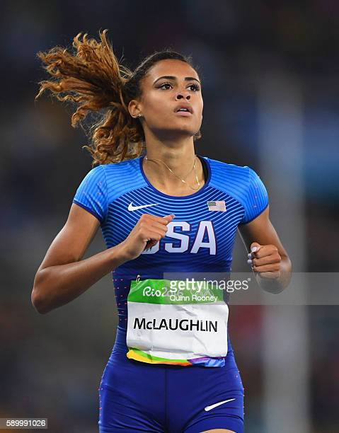 Sydney McLaughlin of the United States reacts after competing in the Women's 400m Hurdles Round 1 Heat 1 on Day 10 of the Rio 2016 Olympic Games at...
