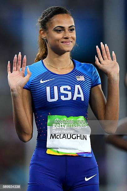 Sydney McLaughlin of the United States reacts prior to competing in the Women's 400m Hurdles Round 1 Heat 1 on Day 10 of the Rio 2016 Olympic Games...