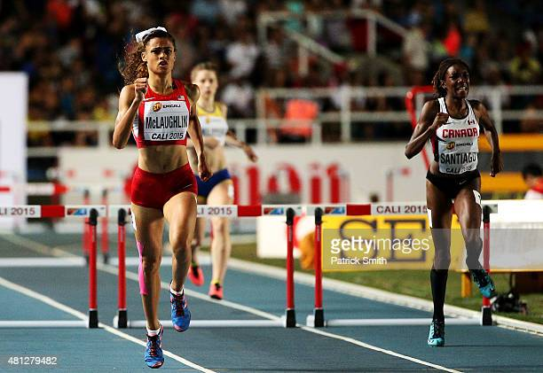 Sydney McLaughlin of the USA in action during the Girls 400 Meters Hurdles Final on day four of the IAAF World Youth Championships Cali 2015 on July...