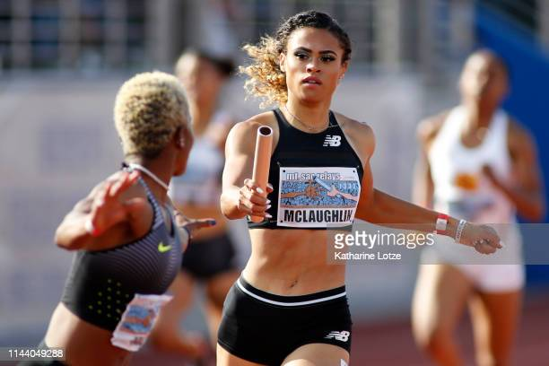 Sydney McLaughlin passes the baton to a teammate during the 1600 meter relay on the second day of the 61st Mt SAC Relays at Murdock Stadium at El...