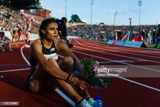 Sydney McLaughlin poses after winning in women's 400m Hurdles at Bislett Stadium during a Diamond League event during a Diamond League event on June...