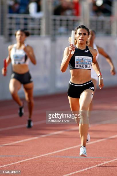 Sydney McLaughlin sprints down the final stretch of her leg of the 1600 meter relay on the second day of the 61st Mt SAC Relays at Murdock Stadium at...