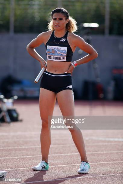 Sydney McLaughlin stands at the start of the women's 1600 meter relay on the second day of the 61st Mt SAC Relays at Murdock Stadium at El Camino...