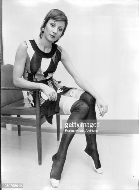 Sydney Model Jan Tapp of Elizabeth Bay wearing Queen Victoria Stockings at Farmers city store. September 22, 1972. .