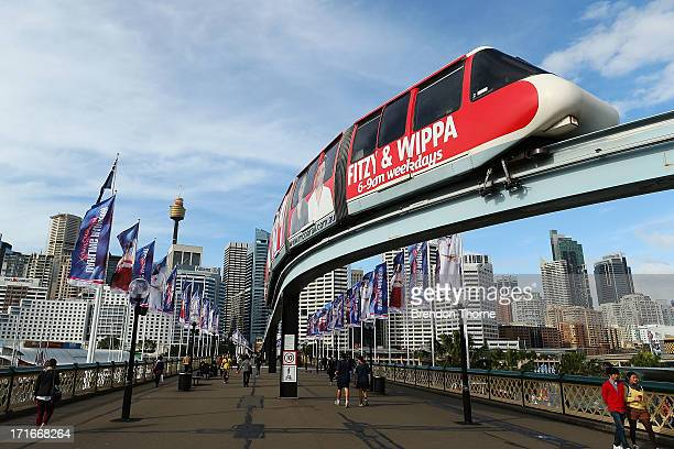 Sydney monorail carriage heads towards Harbouside station on June 26 2013 in Sydney Australia The Sydney monorail will complete it's last lap this...