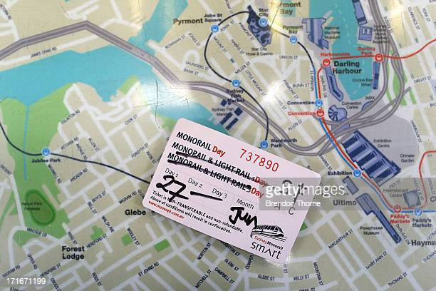 Sydney monorail 'day pass' sits on top of a map of the Sydney monorail system on June 26 2013 in Sydney Australia The Sydney monorail will complete...