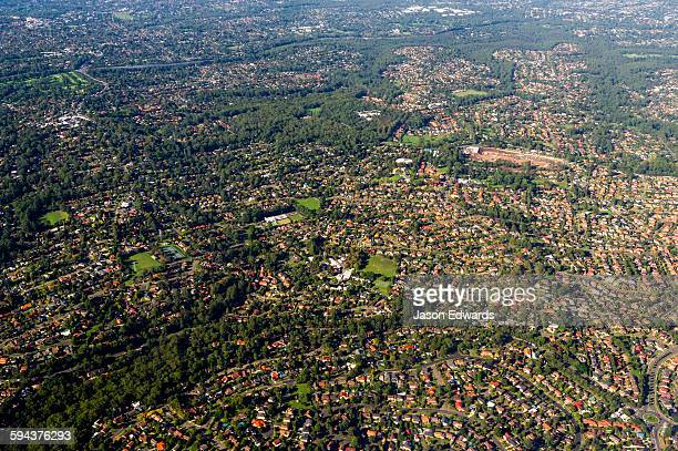 The rooftops of sprawling suburbs surrounding Sydney.
