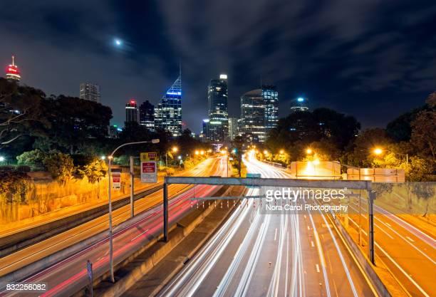 Sydney Night Skyline and Light Trails