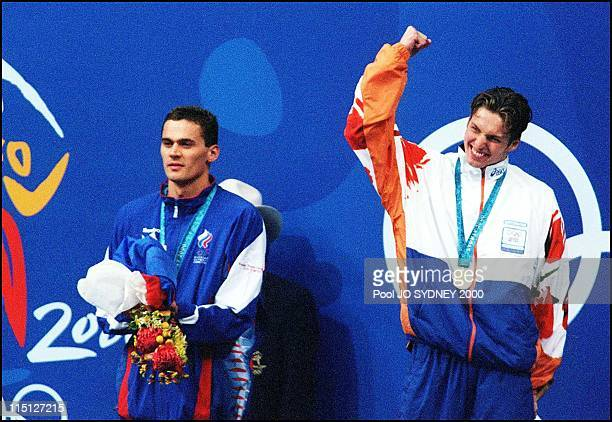 Sydney Olympic Games Men's 100m freestyle final in Sydney Australia on September 20 2000 1st Pieter van den Hoogenband 2nd Alexander Popov