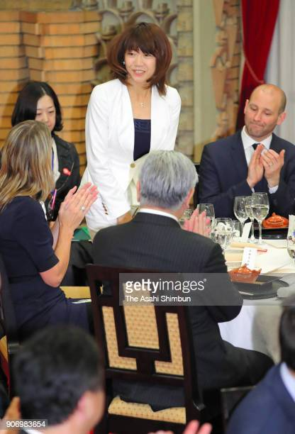 Sydney Olympic women's marathon gold medalist Naoko Takahashi is introduced during the dinner for Australian Prime Minister Malcolm Turnbull at the...