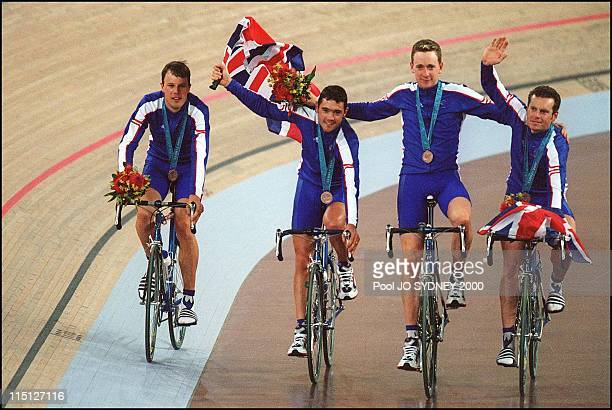 Sydney Olympics Cycling trackmen's team pursuit final in Sydney Australia on September 19 2000 Bronze medalEnglish team Manning paul Steel Bryan...