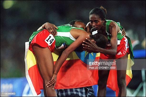 Sydney Olympics Derartu Tulu wins women's 10000 meters final in Sydney Australia on September 30 2000 Derartu Tulu gold medal and Gete Wami silver...