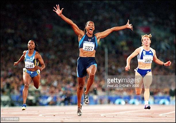 Sydney Olympics Games Athletism women's final 100M in Sydney Australia on September 23 2000 Marion Jones gold medal Ekaterini Thanou silver medal...