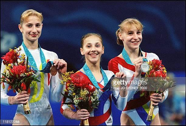 Sydney Olympics Gymnastics Women's individual allaround final in Sydney Australia on September 21 2000 1ST Andrea Raducan 2ND Simona Amanar and 3RD...
