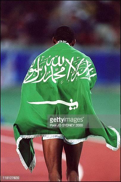 Sydney Olympics Men's 400m Hurdle final in Sydney Australia on September 27 2000 Hadi Souan Somayli silver medal