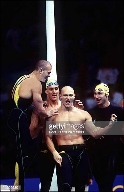 Sydney Olympics team of Australia wins men's 4 X 100m freestyle relay in Sydney Australia on September 17 2000 Michael Klim Chris Fydler Ashley...